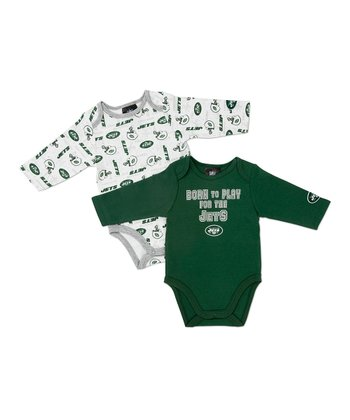 Green New York Jets Long-Sleeve Bodysuit Set - Infant