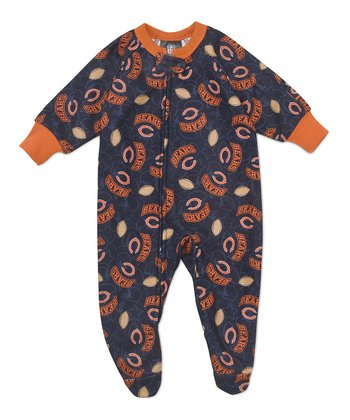 Navy & Orange Chicago Bears Fleece Footie - Toddler