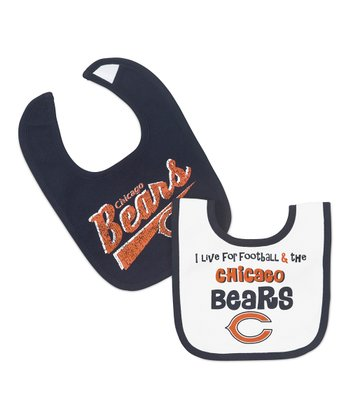 Navy & White Chicago Bears Bib Set