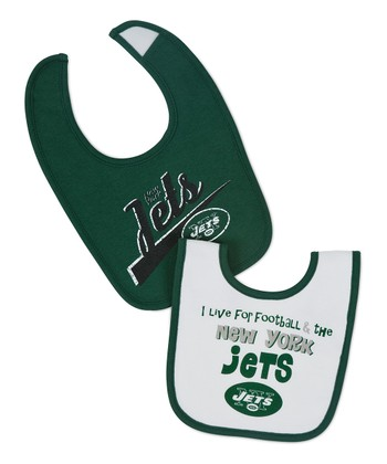 Green & White New York Jets Bib Set