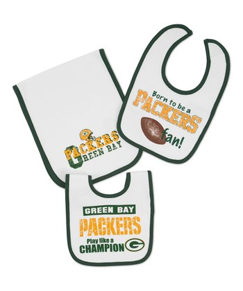 White Green Bay Packers Burp Cloth & Bib Set