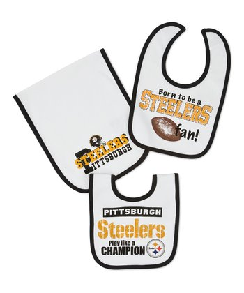 White Pittsburgh Steelers Burp Cloth & Bib Set