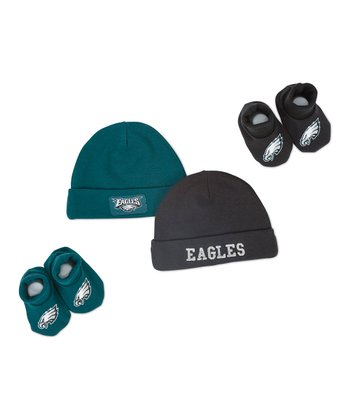 Green & Black Philadelphia Eagles Beanie & Booties Set