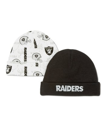 Black & White Oakland Raiders Beanie Set
