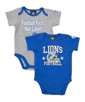 Blue & Silver Detroit Lions Bodysuit Set - Infant