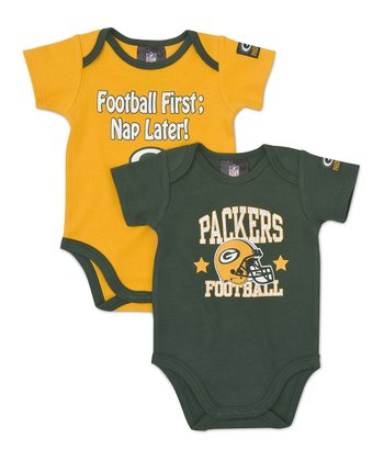 Green & Yellow Green Bay Packers Bodysuit Set - Infant