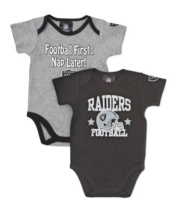 Black & Silver Oakland Raiders Bodysuit Set - Infant