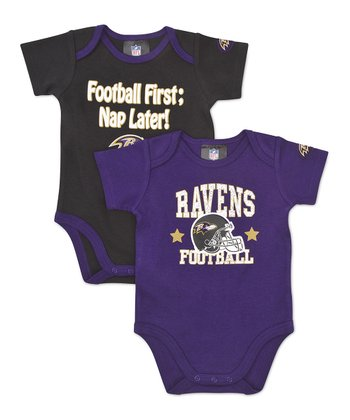 Purple & Black Baltimore Ravens Bodysuit Set - Infant