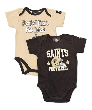 Black & Gold New Orleans Saints Bodysuit Set - Infant