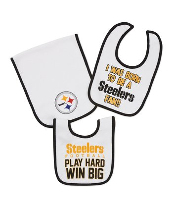 White Pittsburgh Steelers 'Play Hard' Burp Cloth & Bib Set
