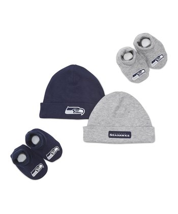 Navy & Gray Seattle Seahawks Beanie & Booties Set