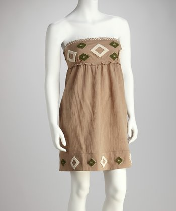 Brown Embroidered Strapless Dress