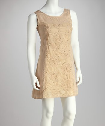 Khaki Embroidered Daisy Dress