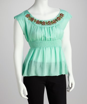 Jade Shirred Top