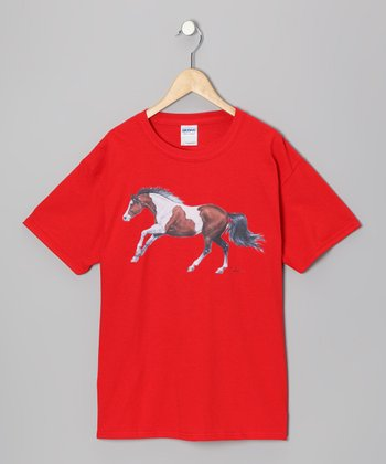 Red Painted Horse Tee - Girls