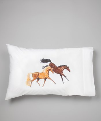 White Lila Bay & Chestnut Horses Pillow Sham