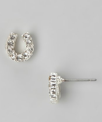 Clear Rhinestone Horseshoe Stud Earrings