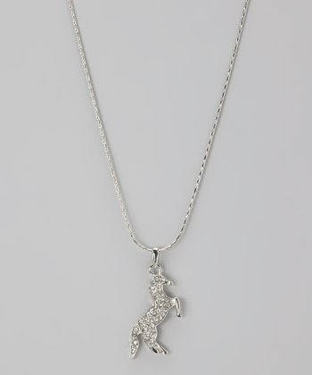 Clear Rhinestone Rearing Horse Necklace
