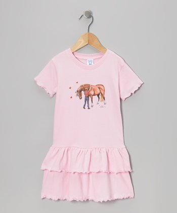 Pink Hugging Pony Jersey Ruffle Dress - Toddler & Girls