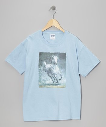 Light Blue Galloping Gray Tee - Girls