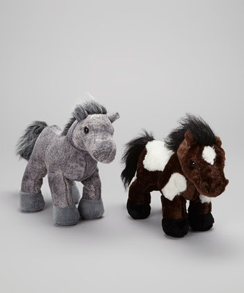 Gray Arabian & Brown Pinto Horse Plush Toy Set