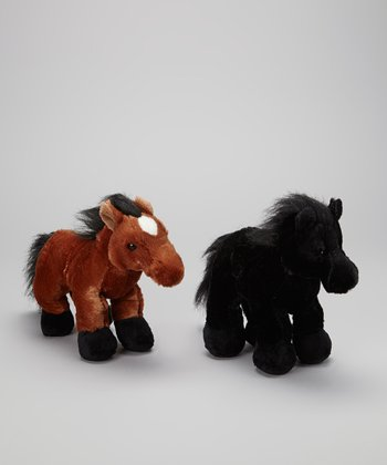 Brown American & Black Stallion Horse Plush Toy Set