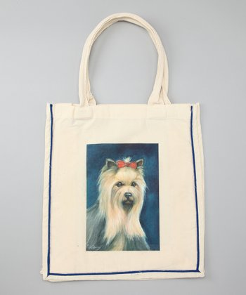 Natural Yorkie Shopper Tote