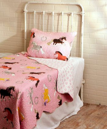 Pink Pony Parade Reversible Full/Queen Quilt Set