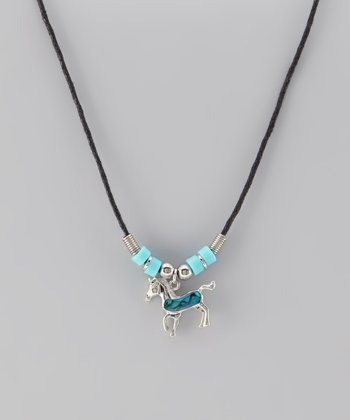 Blue Paua Shell Pony Necklace