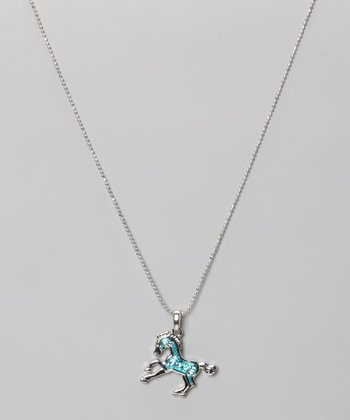 Aqua Rhinestone Enamel Pony Necklace