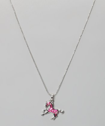 Pink Rhinestone Enamel Pony Necklace