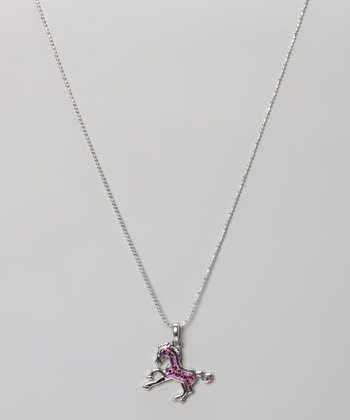 Purple Rhinestone Enamel Pony Necklace