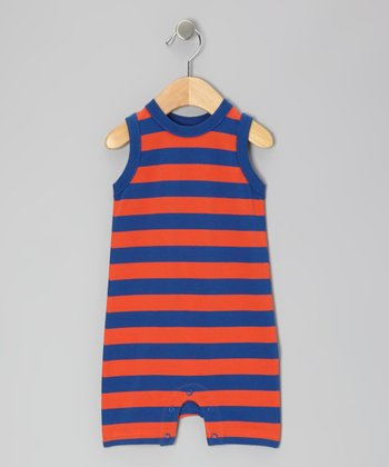 Tangerine & Navy Stripe Organic Romper - Infant