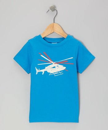 Royal Blue Helicopter Organic Tee - Infant