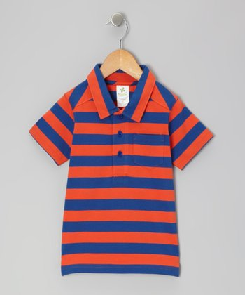 Tangerine & Navy Stripe Organic Polo - Infant & Toddler