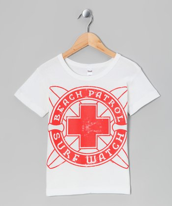 White 'Surf Patrol' Tee - Boys