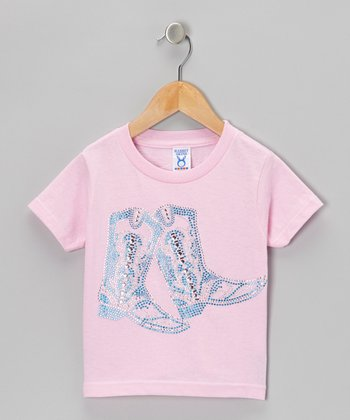 Pink Cowboy Boot Tee - Girls