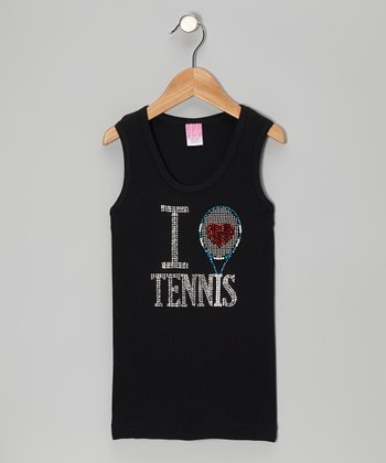 Black 'I Love Tennis' Rhinestone Sleeveless Tee - Toddler & Girls
