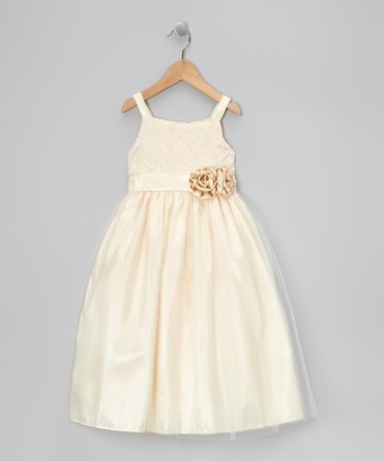 Ivory Lattice Flower Taffeta Dress - Toddler & Girls