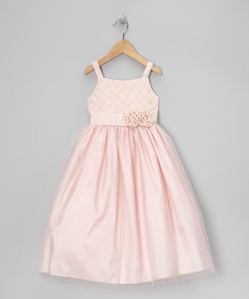 Pink Lattice Flower Taffeta Dress - Toddler & Girls