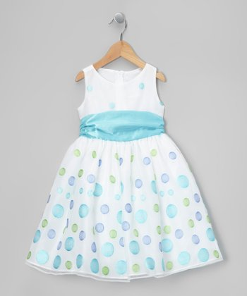 White & Blue Polka Dot Organza Dress - Toddler & Girls