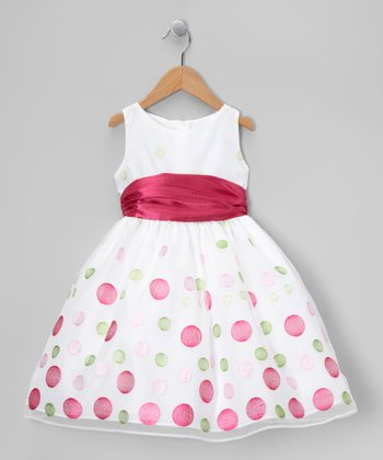 White & Pink Polka Dot Organza Dress - Toddler & Girls