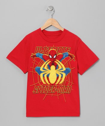 Red & Yellow Spider-Man Appliqué Tee - Boys