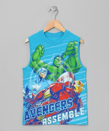 Light Blue 'Avengers Assemble' Tank - Boys