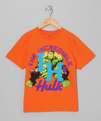Orange 'IH' Hulk Appliqué Tee - Boys