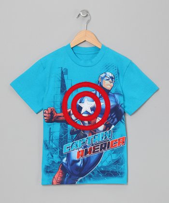 Blue Captain America Appliqué Tee - Boys