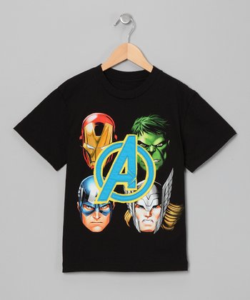 Black Avengers Appliqué Tee - Boys