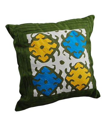 Green Applique Pintuck Pillow