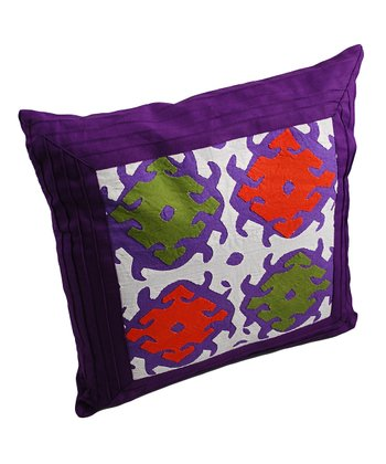 Purple Appliqué Pintuck Pillow