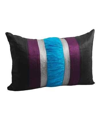 Plum & Black Silk Pillow